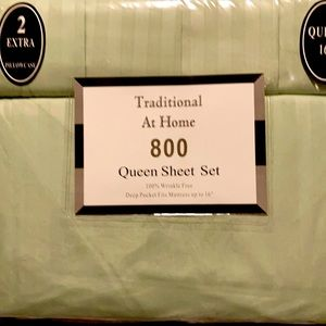 Traditional At Home 6pc Queen Sheet Set Mint Green